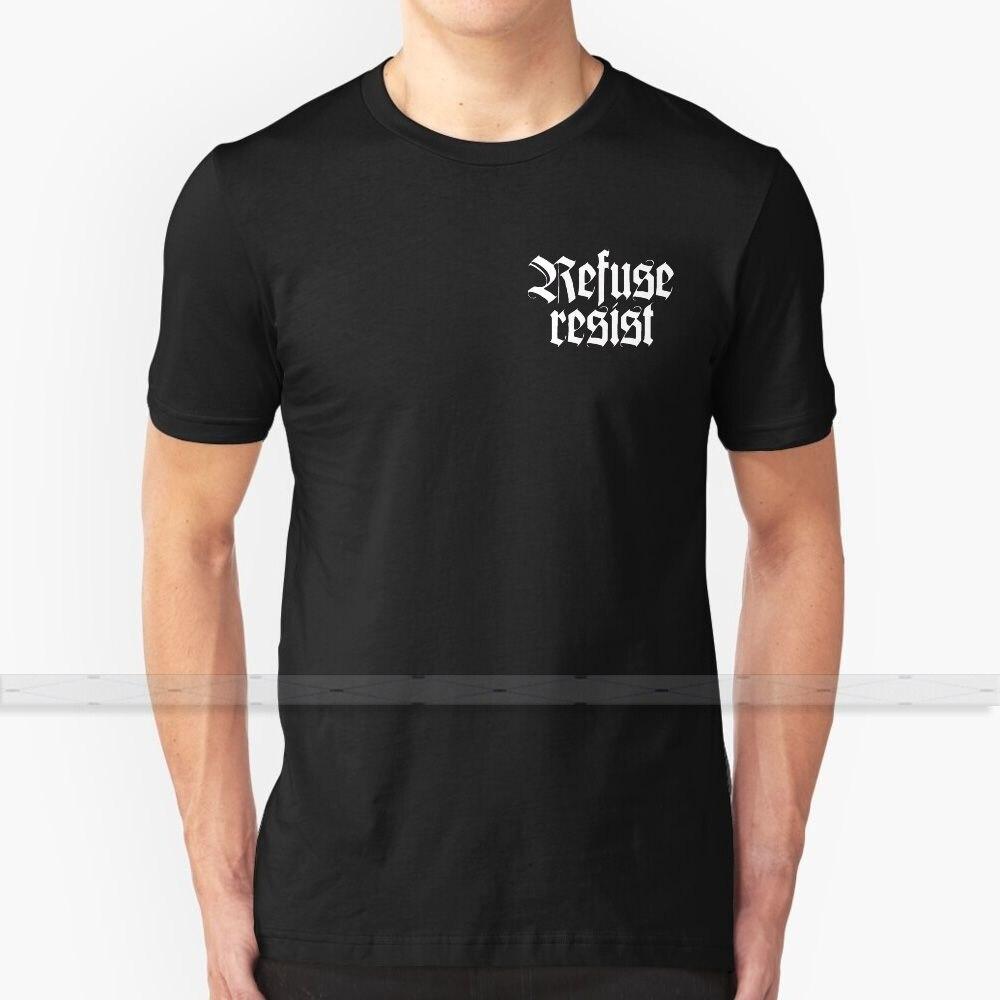 100% algodão legal t-shirts s-6xl letras banda rock metal heavy music rock n recusa resistir para homens