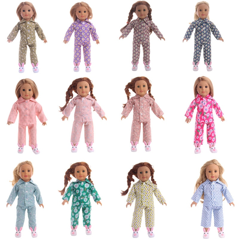 Cute Cartoon Pattern Pajamas  Doll Clothes Fit American 18 Inch Girl Doll&43 Cm Born Baby Doll,Our Generation Girl's Toy doll accessories cute pajamas nightgown clothes for 18 inch american girl boy doll our generation