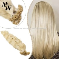 mw 20 1 0gs wavy u nail tip machine remy keratin human hair extensions pre bonded fusion real hair on capsules for salon