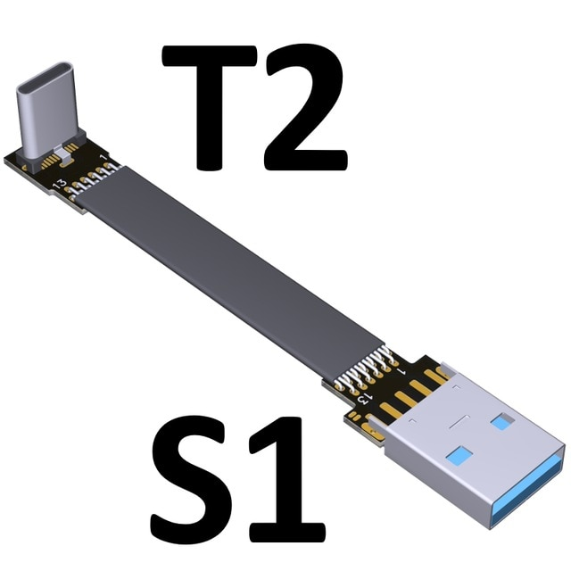 USB 3.0 Type-A Male to USB3.1 Type-C Male Up/Down Angle USB Data Sync & Charge Cable type c Cord Connector adapter FPC FPV Flat