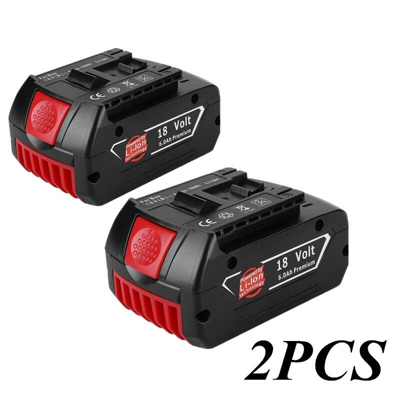 2PCS 18V 6000mah Lithium-ionen-akku Für Bosch 18V Batterie Backup 6.0A Tragbare Ersatz BAT609 Anzeige licht