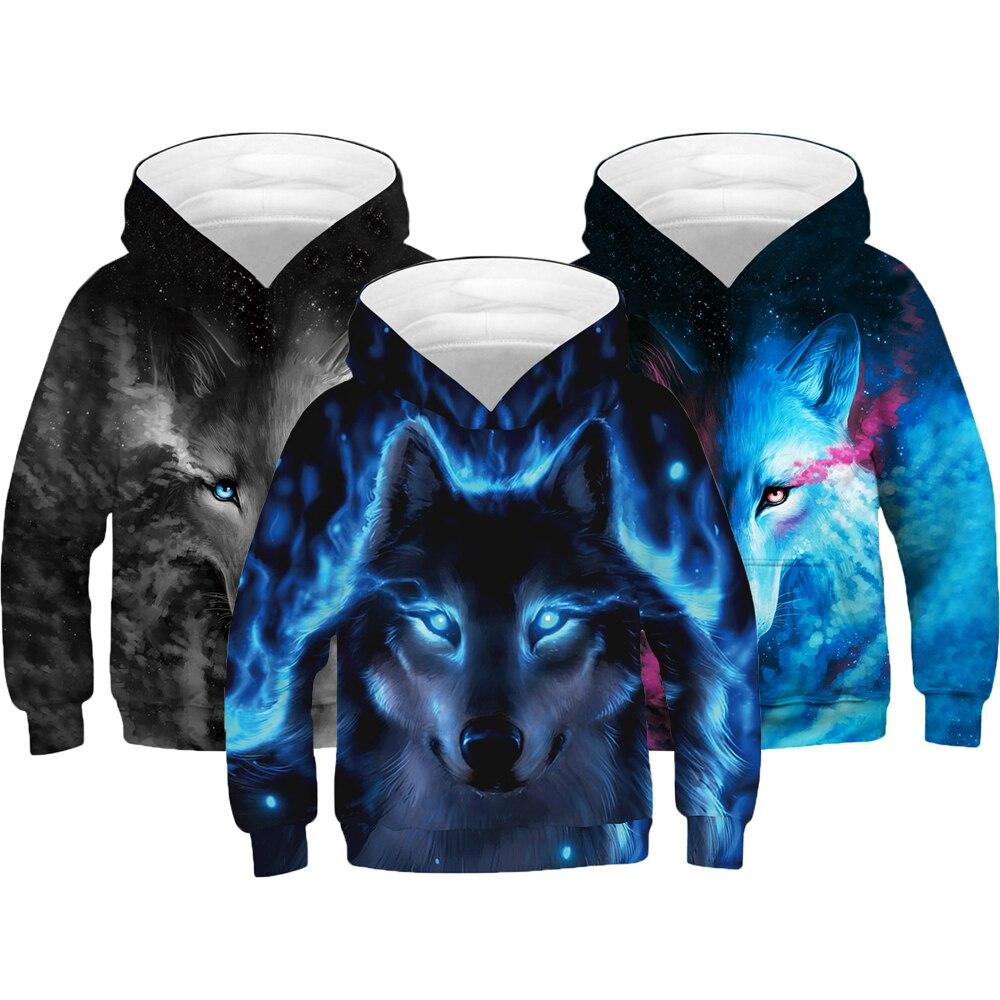 3D Print Wolf Boys Hoodies Coats Kids Hooded Sweatshirt Clothes Children Long Sleeve Pullover Tops Spring Autumn Outerwear