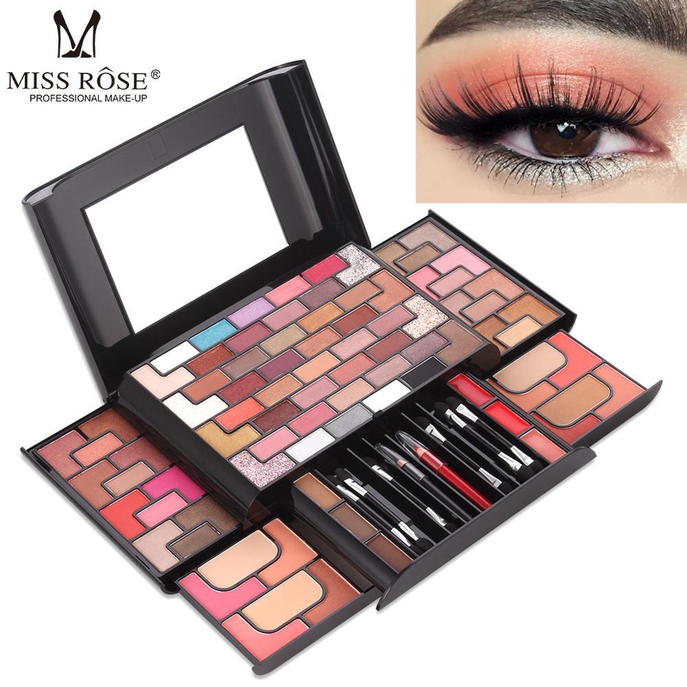 Epacket MISS Rosa oro ladrillo laberinto maquillaje 68 colores sombra de ojos 8 colores rubor 4 colores polvo 3 colores ceja juego de maquillaje de escenario en polvo