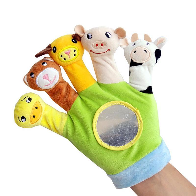 1pc dedo marioneta de peluche de juguete felpa Animal bonito muñecas guante educativos marionetas de mano guantes juguetes regalo para niños saco de peluche de juguete