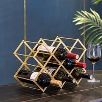 nordic metal wine rack decoration diamond wine lattice cabinet display simple home living room wine storage rack