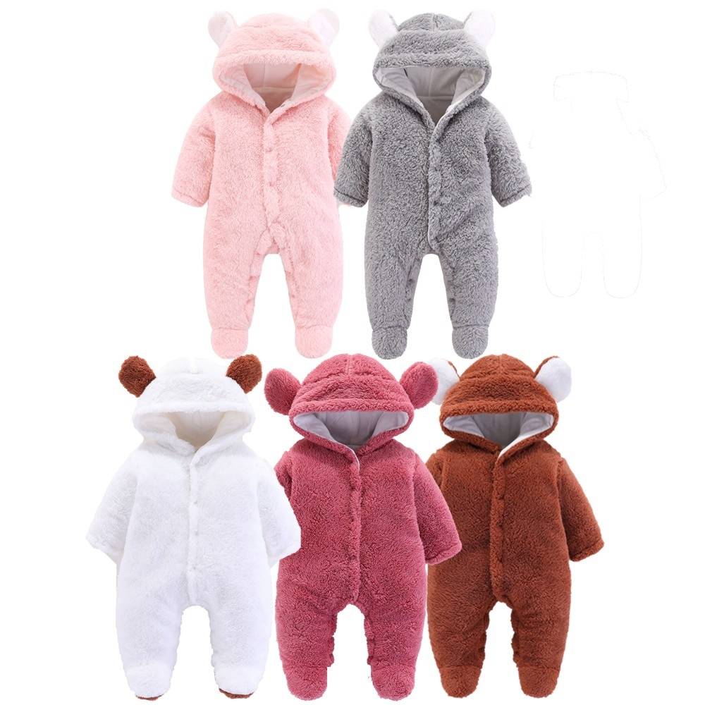 Newborn Baby Boy Clothes Cute Cartoon Fleece Rompers Infant Baby Autumn Winter Polyester Clothes Hoodie Jumpsuit Girl Sleepsuits