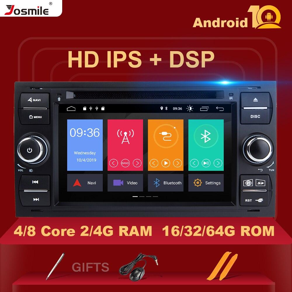 Android 10 2 din Car Radio GPS DVD para Ford Focus 2 Ford Fiesta Ford Mondeo 4 C-Max S-Max fusión de tránsito Kuga de navegación Multimedia