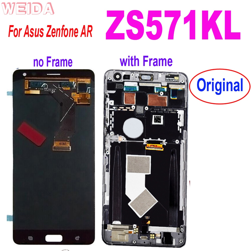 شاشة LCD أصلية 5.7 بوصة لهاتف ASUS Zenfone AR ZS571KL, شاشة LCD تعمل باللمس مع إطار لجهاز ASUS ZS571KL LCD