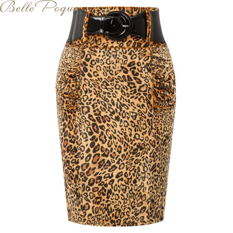 Falda elegante con estampado de leopardo de Belle Poque, faldas informales para mujer, de cintura alta Faldas, ceñido al cuerpo, Falda Midi 2020