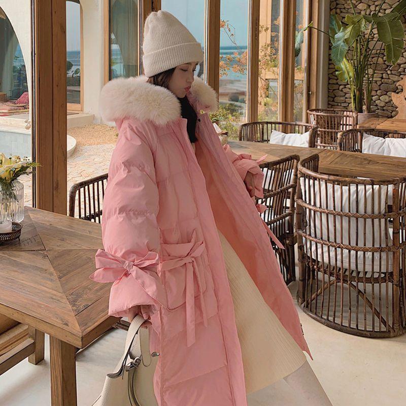 Женская зимняя куртка 2021, толстая хлопковая одежда с большим меховым воротником, новая Корейская женская теплая свободная милая куртка сре...