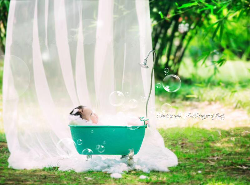 Coconut Newborn photography props bathtub 100 days full moon baby iron creative props baby photography props enlarge