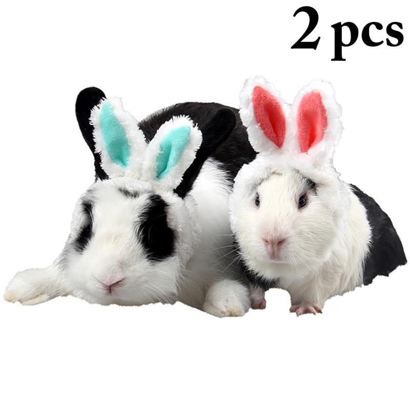 2 uds sombrero para mascotas lindo largo del oído de conejo de mascotas Pet traje sombrero para Guinea cerdo gatito decorativa accesorios collar mascotas