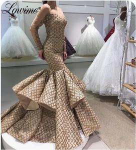 Mermaid Long Dubai Evening Dresses 2020 Women Long Sleeves Party Gowns Illusion Islamic Kaftans Party Dress Abendkleider