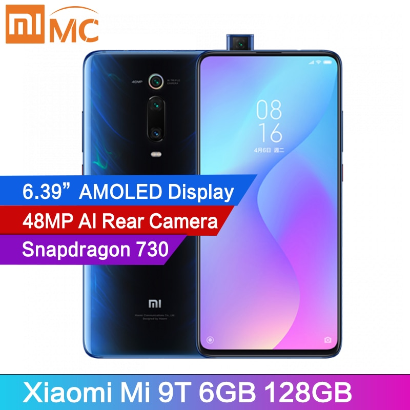 """Оригинальный Xiaomi Mi 9T 6 ГБ 128 мобильный телефон Snapdragon 730 48MP AI сзади Камера 4000 мА/ч, 6,39 """"AMOLED Дисплей MIUI глобальная версия"""