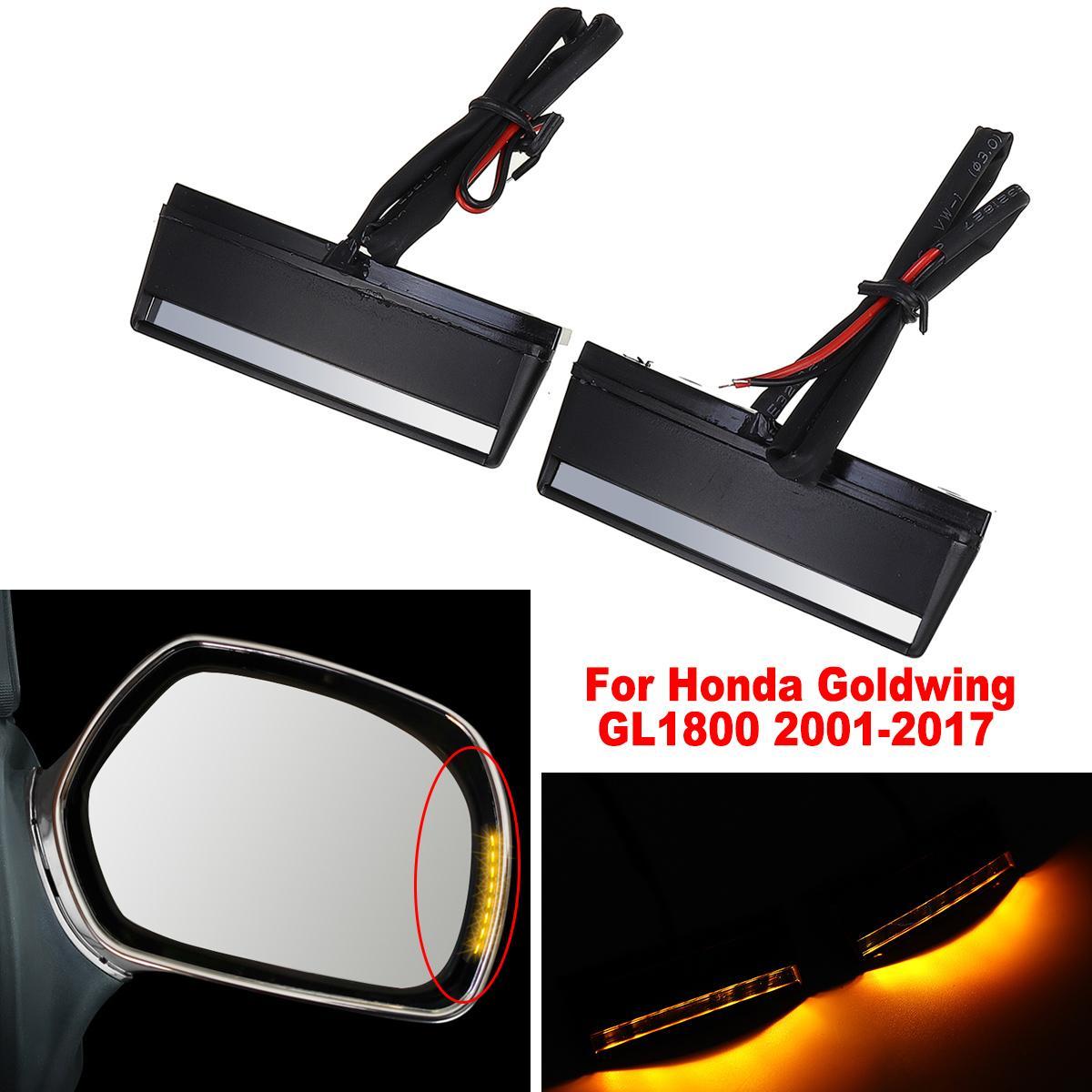 2 uds, luz LED de intermitente ABS ámbar para motocicleta, luz de espejo lateral para Honda Goldwing GL1800 GL 1800 2001-2017 (#7513)
