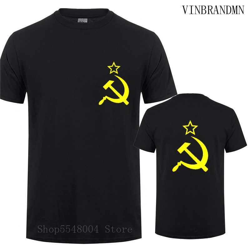 Soviet Flag Tee Shirt Camisetas Hammer Sickle Communist Communism Tshirt Men USSR CCCP T-Shirt Russian Summer Style Vintage Tops