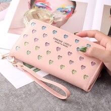 Nouveauté femmes longue pochette portefeuille fermeture éclair sac à main dames en cuir grande capacité téléphone sac amour creux mode concepteur portefeuilles