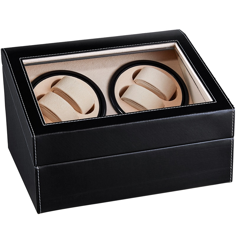 Gorben PU Leather Automatic Watch Winder Case Holder EU/US/AU/UK Plug Mechanical Watch Winding Box  Jewelry Storage Organizer