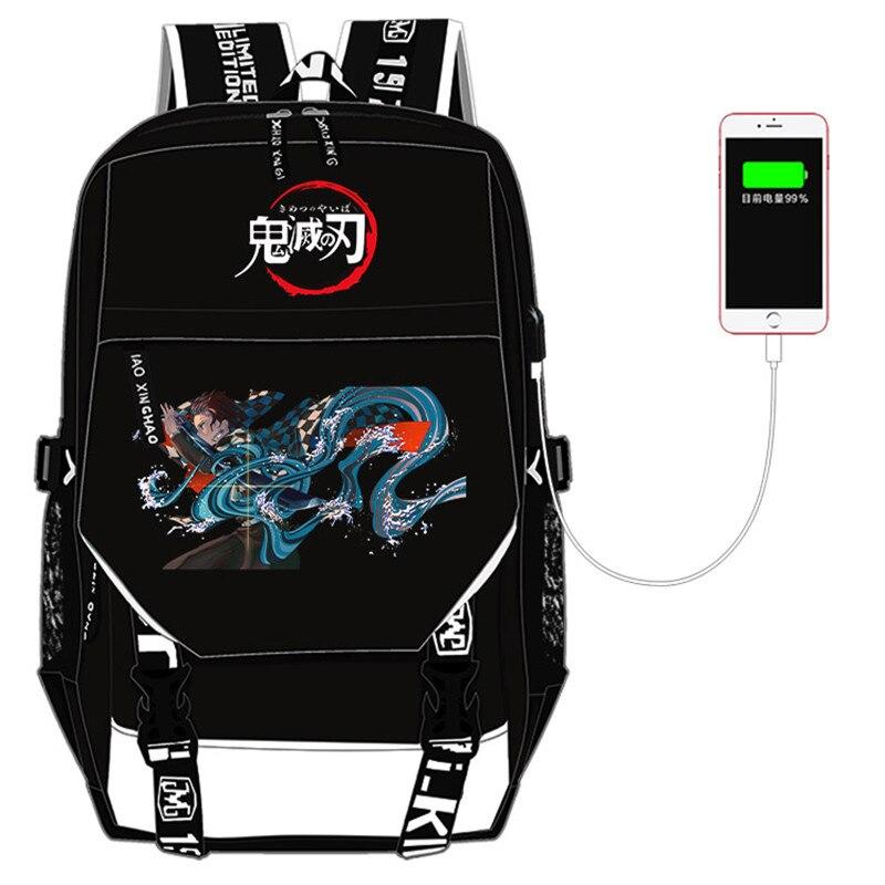 شيطان القاتل: كيميتسو نو يابا المرأة على ظهره أنيمي حقيبة قماش حقائب مدرسية USB شحن محمول على ظهره السفر على ظهره