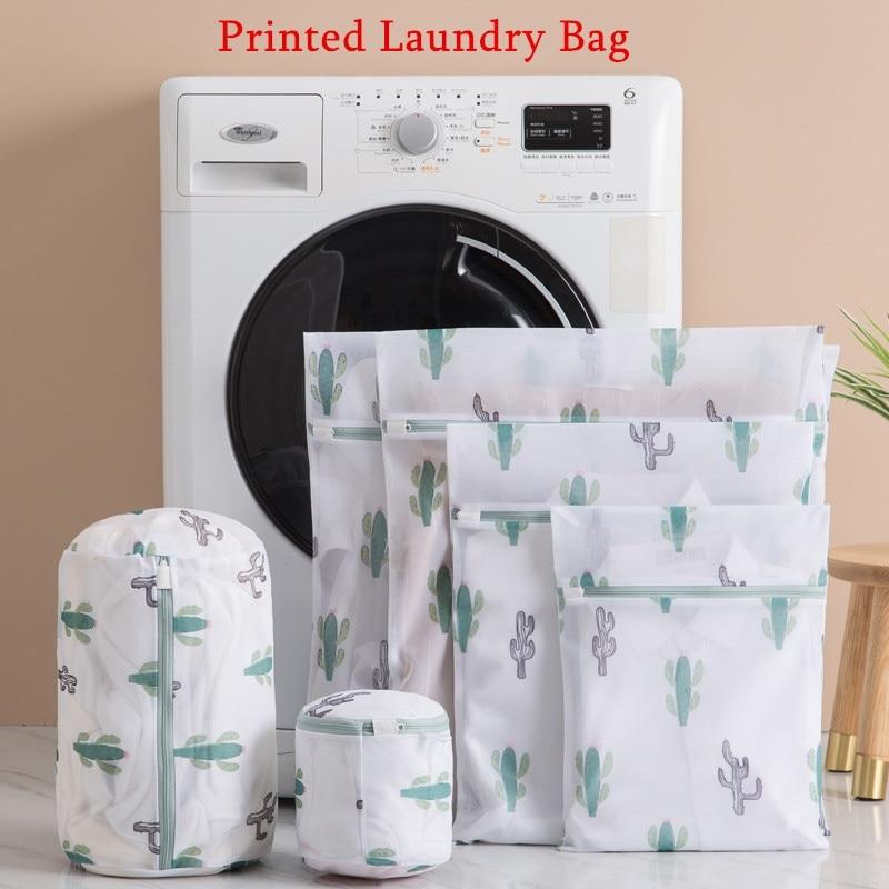 6 Kinds of White Fine Mesh Cactus Printing Laundry Bag, Bra Washing Anti-deformation Thickening Polyester Storage Bag
