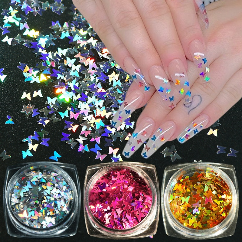 1 Box Nail Sequins Butterfly Design 3D Glitter Nail Art Sticker Colorful Nail Flakes Holographics Palliette Spangle Decoration
