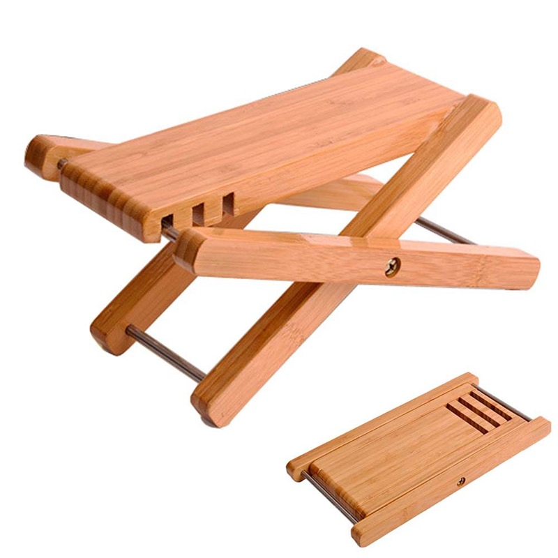 Guitar Foot Rest Foldable Bamboo Wood Footstool Footrest Pedal Adjustable Height for Acoustic Classic, Folk Guitars enlarge