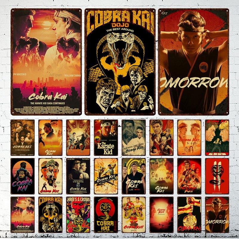 Металлический постер в стиле ретро классическая комедия кунг-фу, кино, Кобра Кай, украшение для бара, железная живопись, настенное искусство...