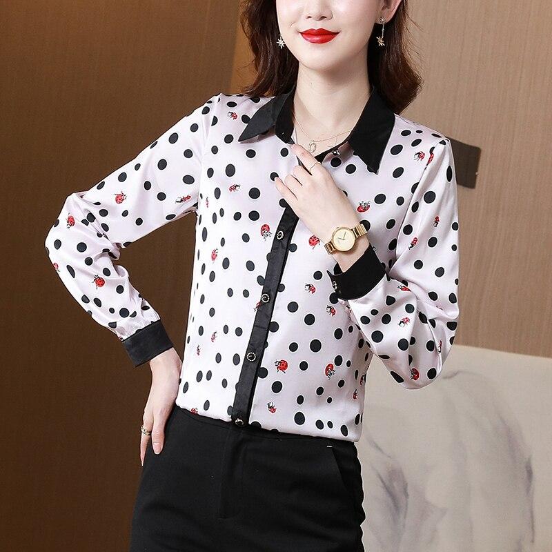 Рубашка женская шелковая, блузка с волнистым заостренным носом, Топ с длинным рукавом и воротником-поло, базовая одежда, офисная одежда