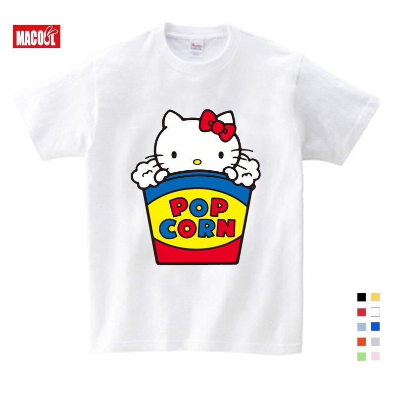 Verão novo olá kitty gato bonito curto parágrafo punk moda casual solto grande tamanho dos desenhos animados impressão camiseta crianças roupas