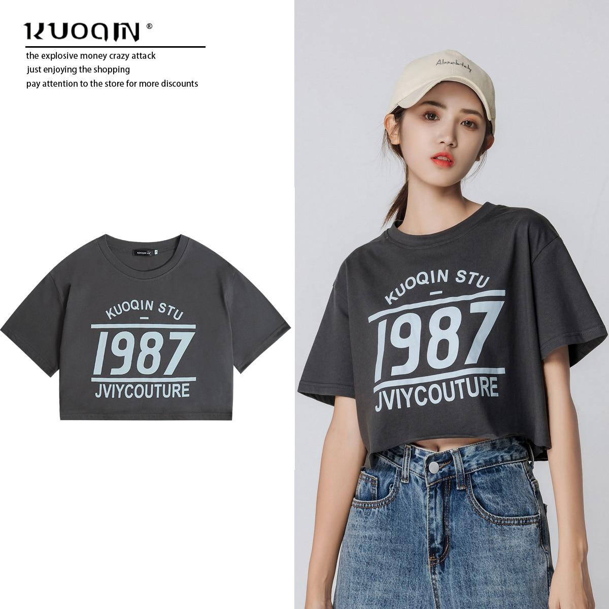 High Waist Pure Cotton Short-Sleeved T-shirt Women's Ins Super Popular Chic Elegant Short Top with W