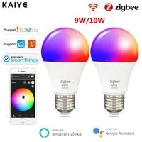 Ampoule intelligente LED 3 0 Tuya Zigbee  E27  lampe intelligente  fonctionne avec Hue  Alexa  Google Home Assistant  SmartThings  RGB CW  variable