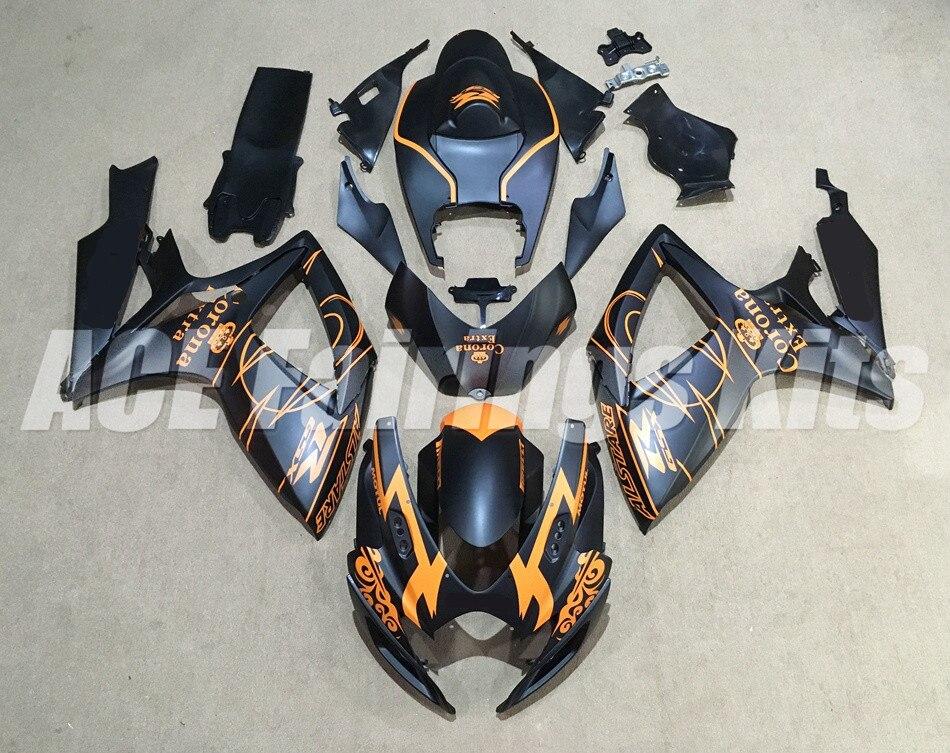 Nuevo Kit de carenados ABS adecuado para SUZUKI GSXR600 GSXR750 06 07 R600 R750 K6 GSXR 600 750 2006 2007 negro mate naranja personalizado