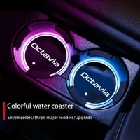luminous car cup coaster holder 7 colorful usb charging car led atmosphere light for skoda octavia 2 3 4 rs 5e auto accessories