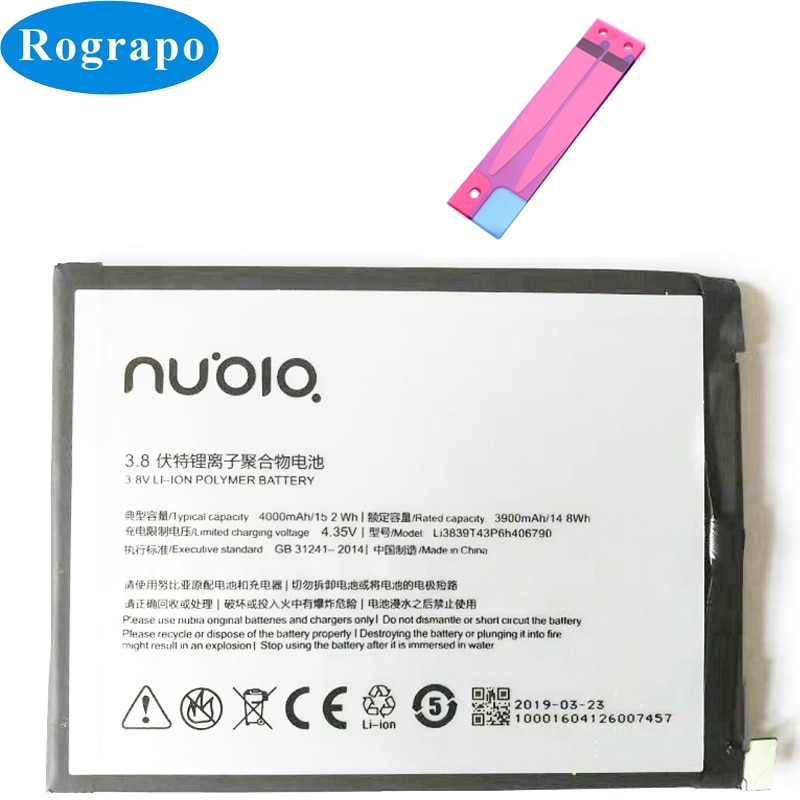 Batería nueva 4000mAh Li3839T43P6h406790 para ZTE Nubia Z11 Max NX523 NX523J NX535J baterías de teléfonos móviles originales