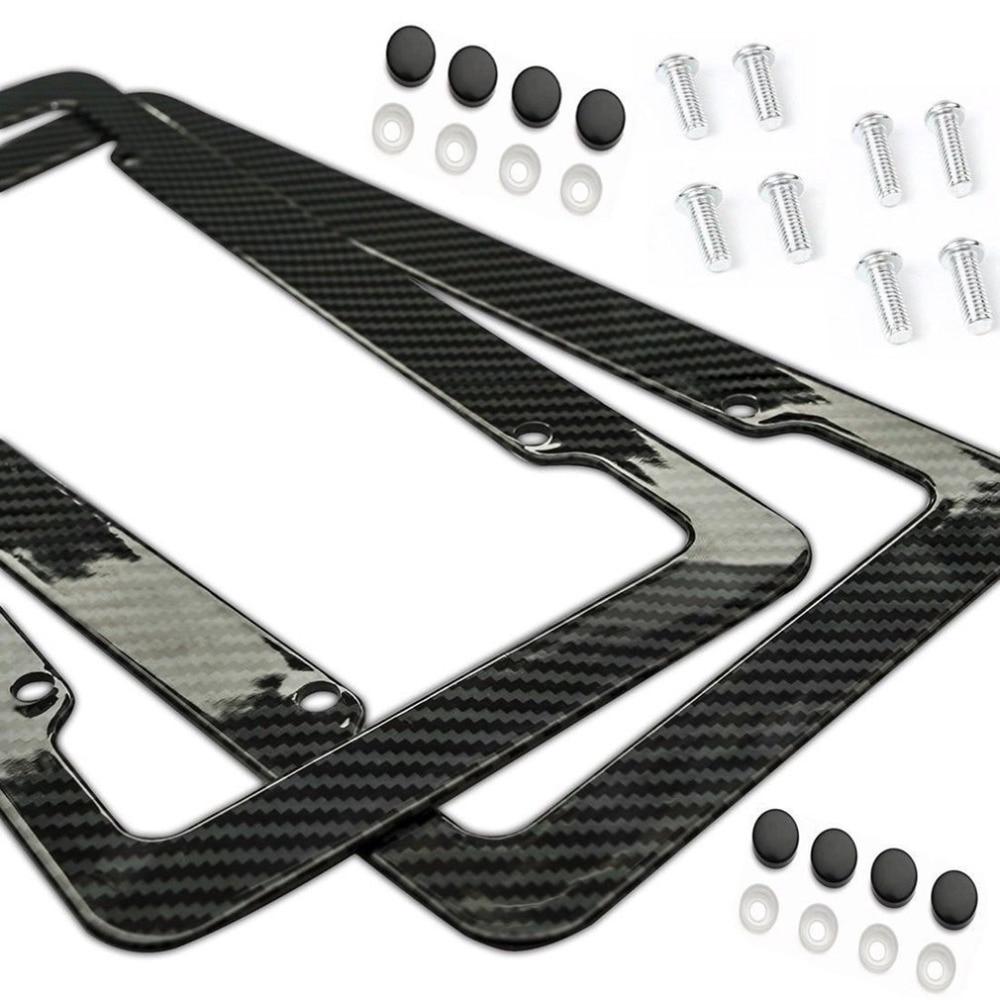 Universal 2pcs License Plate Frame Carbon Fiber Plastic Bracket with Standard Screw Kits
