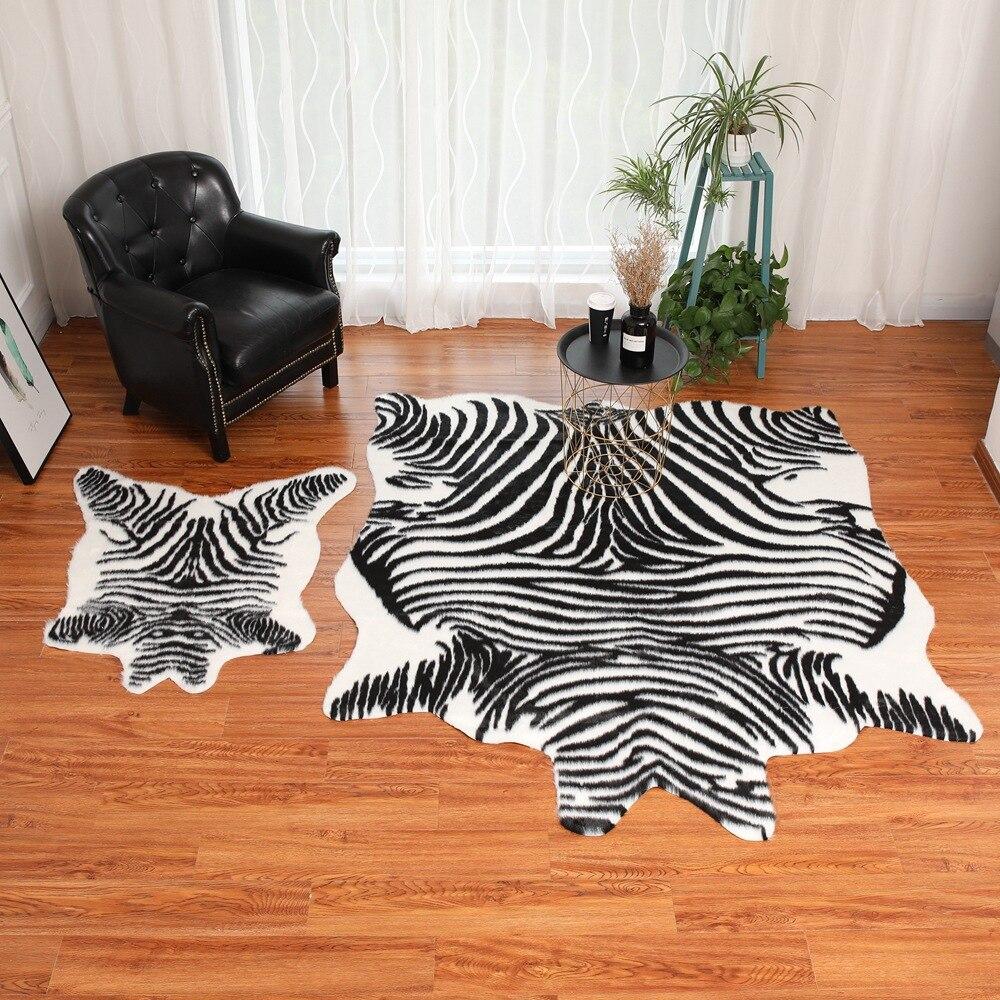 1 pieza simulación cebra/vaca impreso alfombra terciopelo imitación cuero alfombras piel de vaca piel de Animal forma Natural alfombras decoración alfombras