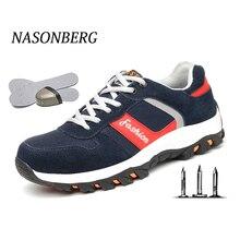 NASONBERG punción prueba zapatos de seguridad para los hombres de los hombres transpirables zapatos de trabajo al aire libre bota de seguridad de los hombres de punta de acero de botas de trabajo de los hombres