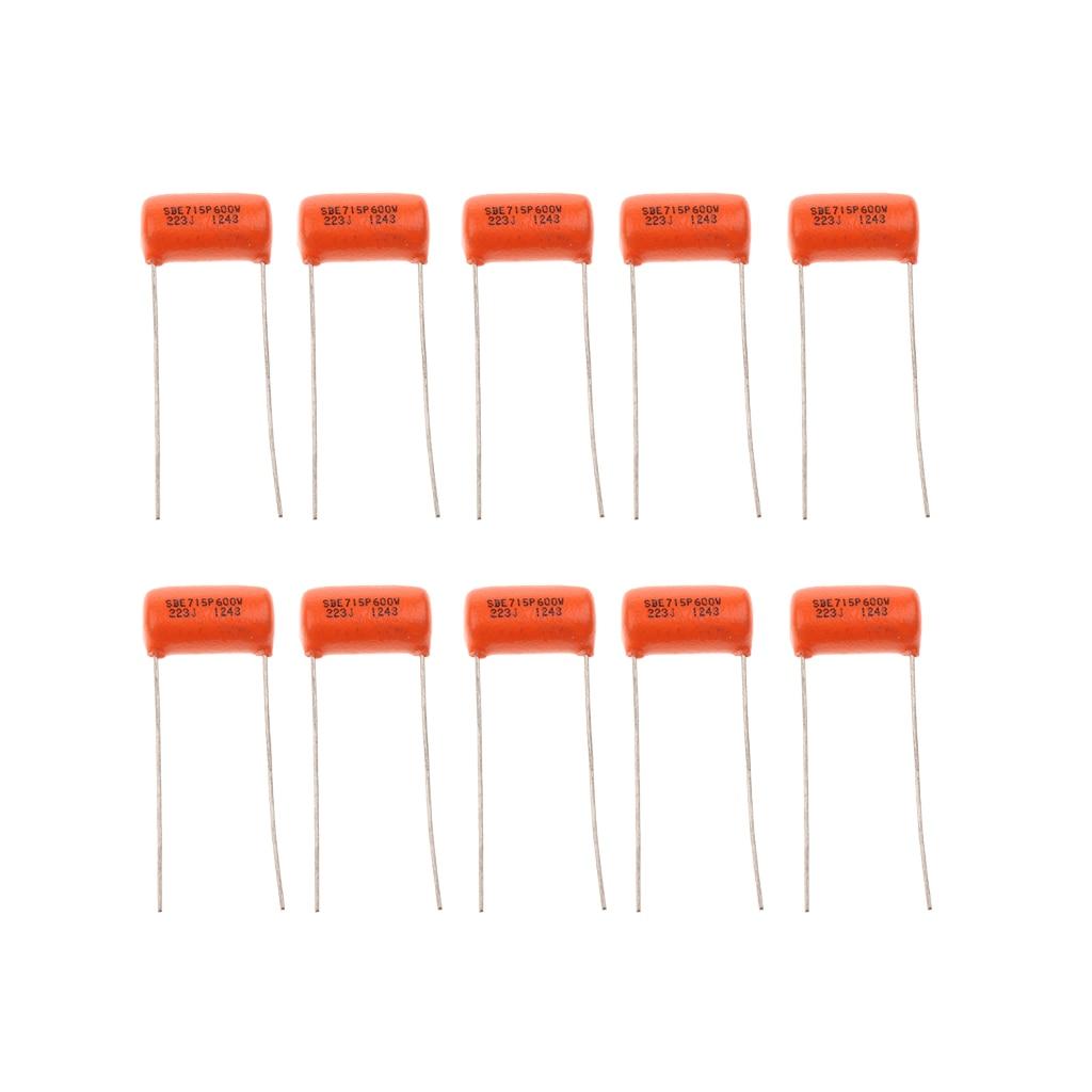 10 Uds condensadores de Tono naranja. 022uf 600v 223J para piezas de guitarra bajo eléctrico