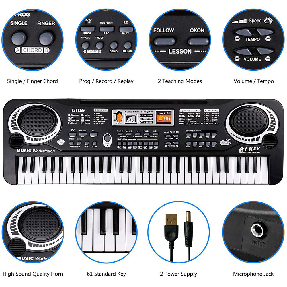 61 Keys Digital Music Electronic Keyboard Key Board Electric Piano With Microphone Educational Toy  Kids Gift Musical Instrument enlarge