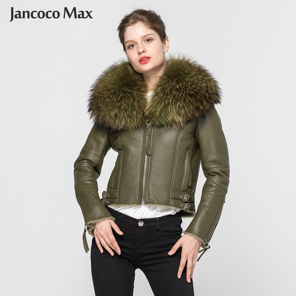 Real Leather Coat Women's Real Fur Lined Coat Raccoon Fur Collar Double Face Biker Jacket 2019 New A