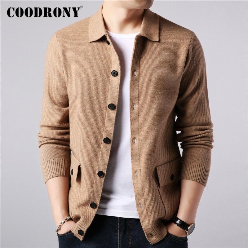 Мужской свитер COODRONY, осенне-зимний теплый кашемировый шерстяной кардиган с карманами, 91104