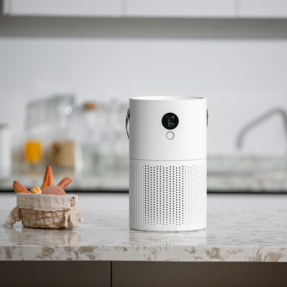 White Dolphin-جهاز تنقية الهواء المنزلي ، جهاز تنقية سطح المكتب مع مرشحات HEPA ، شاشة ذكية وضوء ليلي ، قابل لإعادة الشحن ، AP01