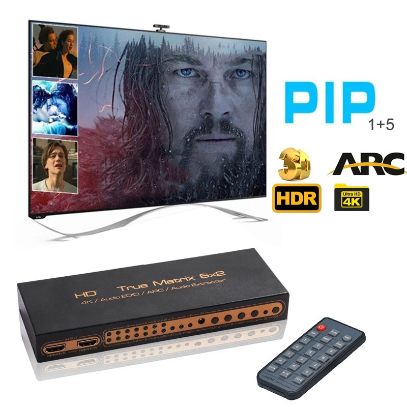 4K 6X2 HDMI-compatible Matrix 1080p 60Hz Martrix Box Splitter 6 In 2 Out PIP ARC 3D 3.5mm Audio Extractor Switch TV Dual Display
