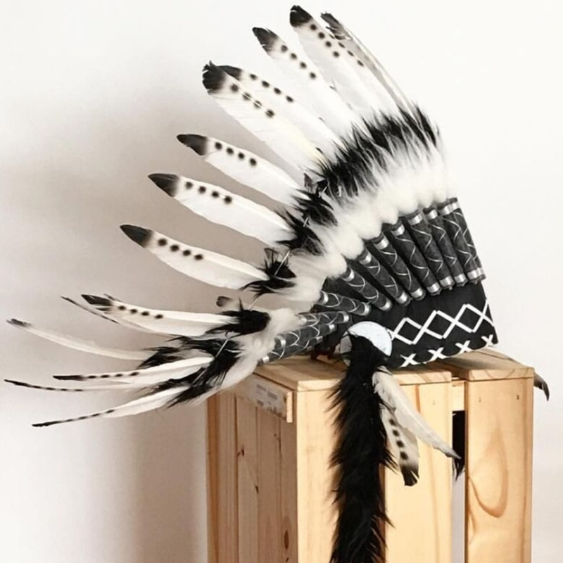 New Indian Chief Feather Headdress Children's Party Hat Crown Headband Home Decoration Photography Props