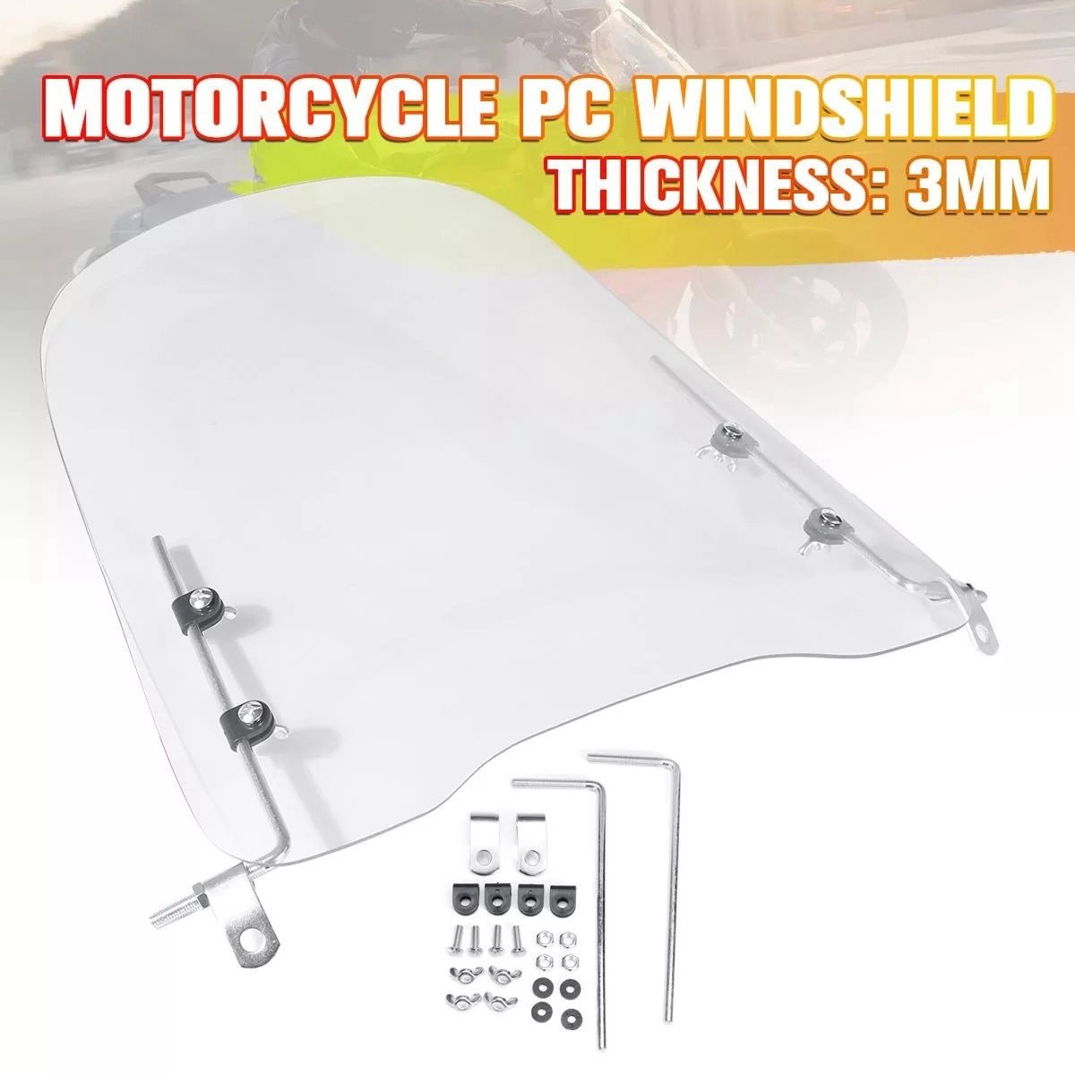 motorcycle wind screen deflector for suzuki boulevard m109 m109r m90 m50 m109r2 m109rz limited 2006 2016 pc windshield w clamps 3mm Thick Motorcycle Wind Cold Deflector Clear Transparent PC Plate Scooter Windshield Windscreen Wind Deflector