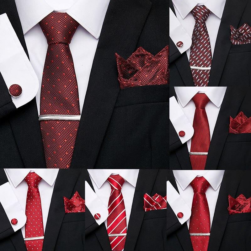 Wedding Red 7.5cm Tie for Men 100%Silk Tie Clip Hsndkerchief Cuffink Tie Set Luxury Striped Skinny Men Ties Formal Dress Necktie недорого