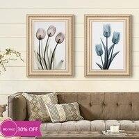 Peinture sur toile avec tulipe et fleurs transparentes  decoration de noel  affiche murale  tableau artistique pour salon  decoration de maison