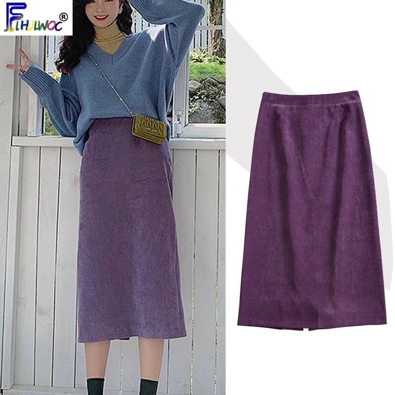Весенне-зимние юбки с высокой талией, модная женская Милая одежда в японском Корейском стиле, фиолетовая винтажная юбка с разрезом, 11224