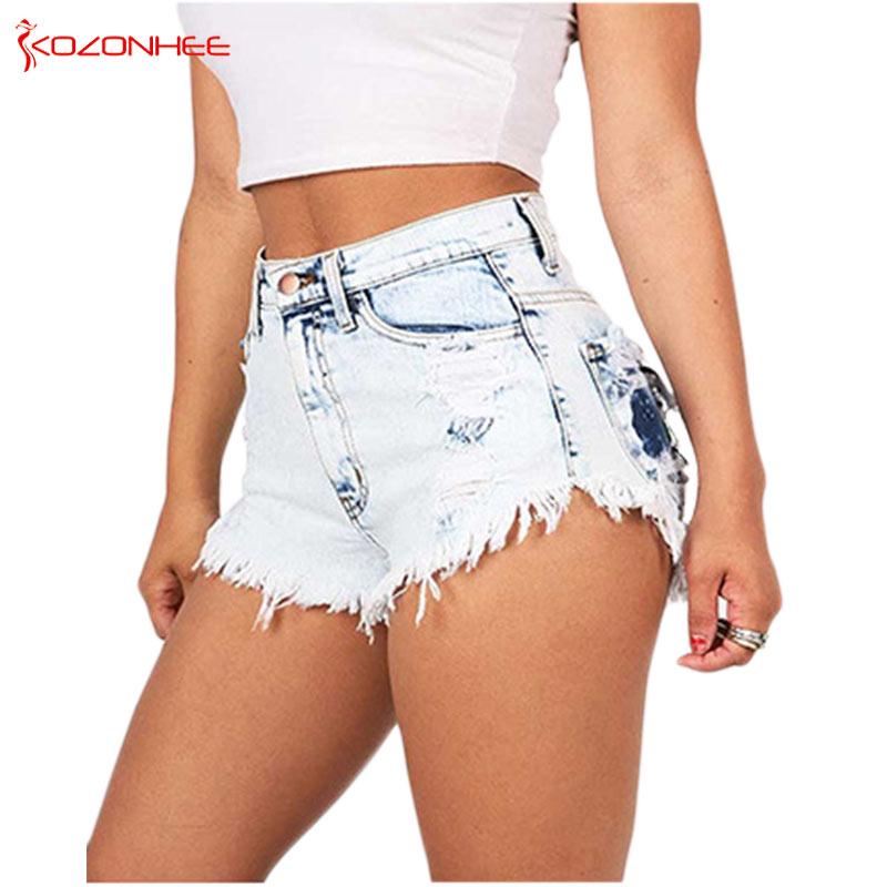 Sexy Enzyme Wash Women Denim Short High Waist Tassel Hole Shorts Female Ripped Summer Jeans