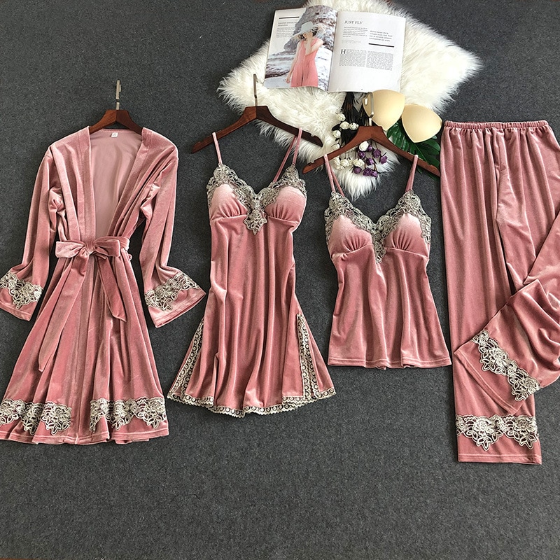 4 Pieces Flannel Winter Pyjamas Women Velvet Bathrobe Sets Pyjamas Women Pink Sexy Lingerie Pajama Set Pink Kimono Bridesmaid